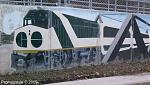 A painted mural picture on the bottom of the Kennedy GO Train Station, shows like a EMD F40-PH Locomotive in GO Transit colours.